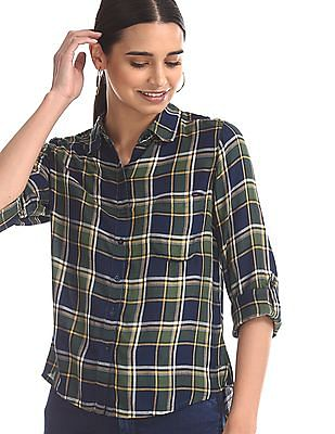 Flying Machine Women Green And Navy Roll Up Sleeve Check Shirt