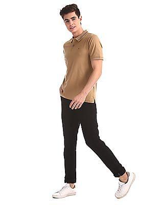Arrow Newyork Beige Solid Mercerized Cotton Polo Shirt