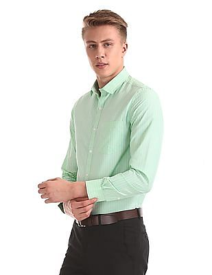 Excalibur Green Semi Cutaway Collar Vertical Stripe Shirt