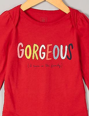 GAP Baby Red Bright Family Graphic Bodysuit