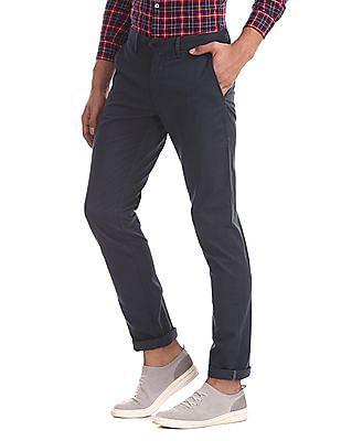 Arrow Sports Blue Chrysler Slim Fit Tonal Print Trousers