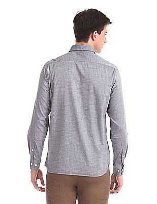 Arrow Sports Grey Mitered Cuff Printed Shirt