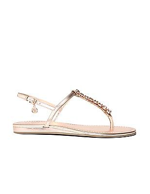 GUESS Stone Embellished Leather Sandals