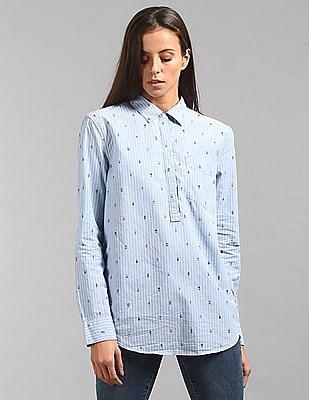 efa4f764 Buy Women Arrow Print Stripe Boyfriend Popover Shirt online at NNNOW.com