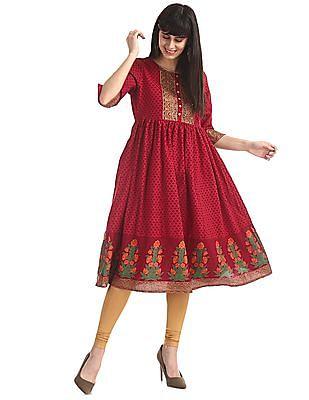 Anahi Red Flared Hem Printed Kurta