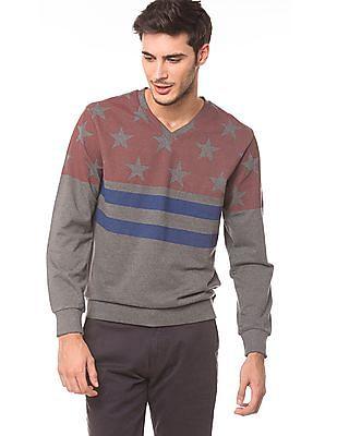 Izod V-Neck Printed Sweatshirt