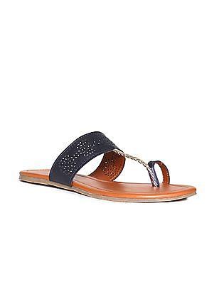 Bronz Colour Block Lasercut Sandals