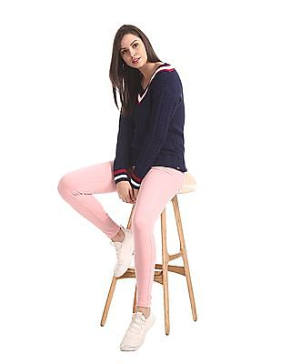 U.S. Polo Assn. Women Blue V-Neck Cable Knit Sweater