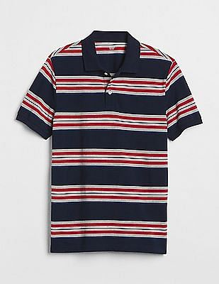 GAP Stretch Pique Multi Stripe Polo