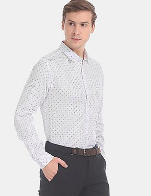 Flying Machine Men White Slim Fit Printed Casual Shirt