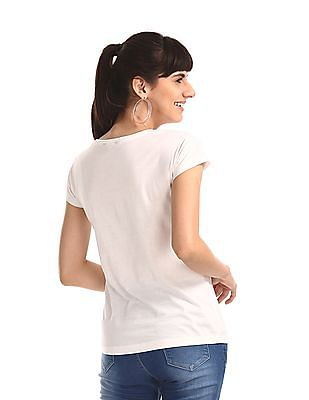 SUGR White Extended Shoulder Graphic T-Shirt