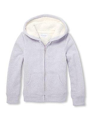 The Children's Place Girls Solid Sherpa Sweatshirt
