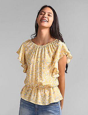 GAP Flutter Sleeve Floral Print Top