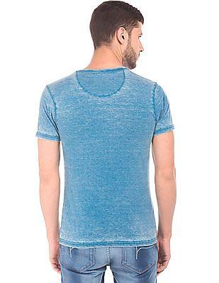 Flying Machine Regular Fit Washed Henley T-Shirt