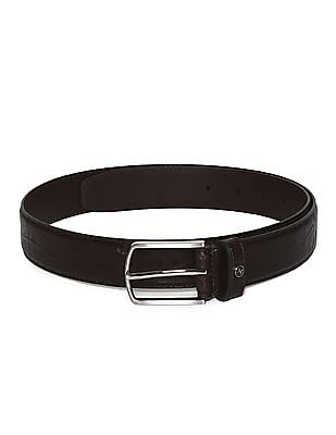 Arrow Brown Textured Leather Belt