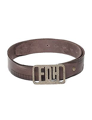 Ed Hardy Brown Square Pattern Leather Belt
