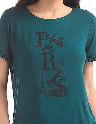 Elle Studio Embellished Front Ruffle Trim T-Shirt