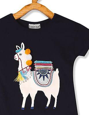 Cherokee Blue Girls Appliqued Front Cotton T-Shirt