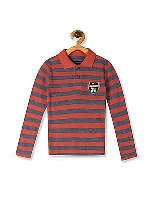 Cherokee Orange And Grey Boys Striped Pique Polo Shirt