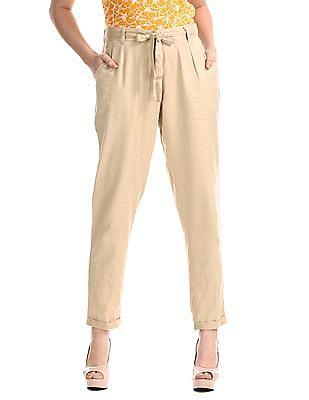 Bronz Beige Belted Waist Solid Pants