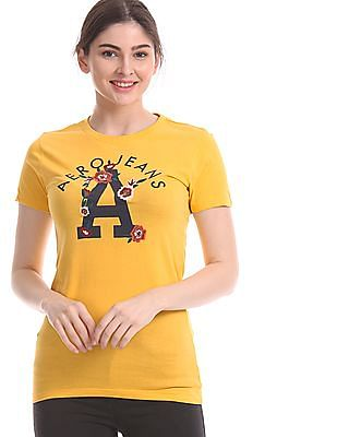 Aeropostale Yellow Brand Print Embroidered T-Shirt