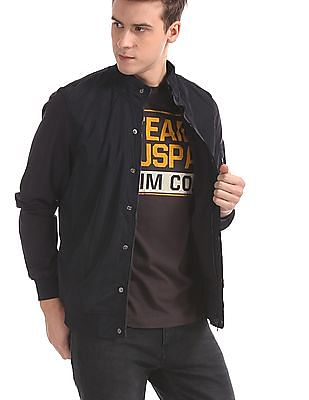 U.S. Polo Assn. Blue Solid Bomber Jacket