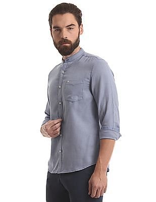 True Blue Mandarin Collar Textured Shirt