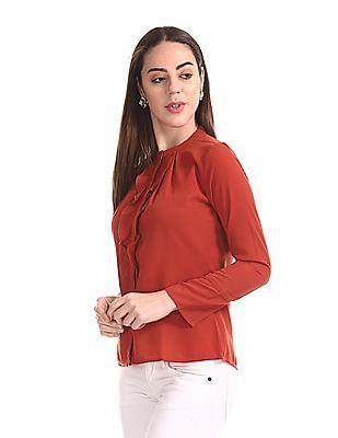 Elle Studio Long Sleeve Mandarin Collar Top