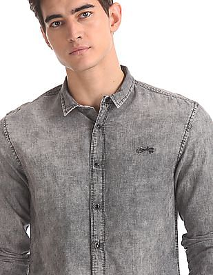 Cherokee Grey Rounded Cuff Washed Shirt
