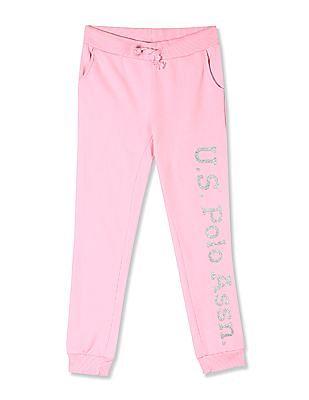 U.S. Polo Assn. Kids Pink Girls Brand Print Knit Joggers