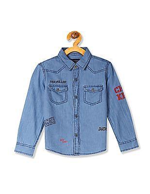 Cherokee Boys Long Sleeve Solid Shirt