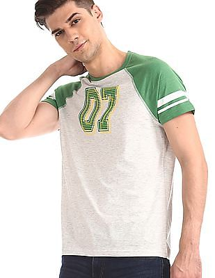 Colt Grey Numeric Print Colour Block T-Shirt