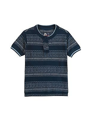 FM Boys Boys Mandarin Collar Printed Polo Shirt