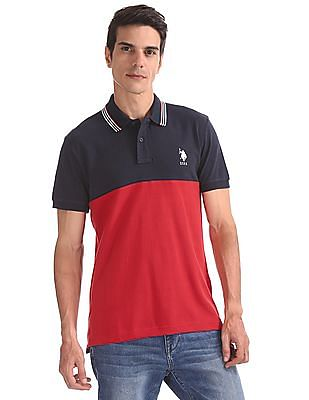 641890c2c49 U.S. Polo Assn. Cut And Sew Panel Colour Block Polo Shirt. SHOP NNNOW