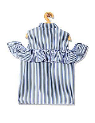 U.S. Polo Assn. Kids Girls Striped Cold Shoulder Top