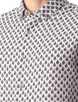 True Blue Printed Button Down Shirt