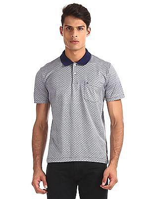 Arrow Blue Patterned Knit Polo Shirt