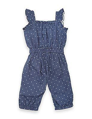 U.S. Polo Assn. Kids Girls Square Neck Star Print Jumpsuit