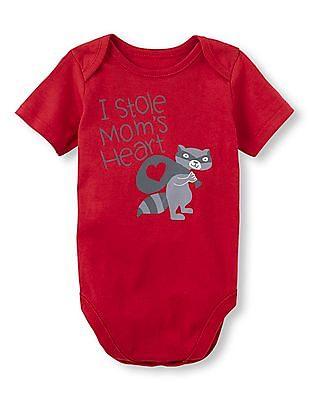 The Children's Place Baby Short Sleeve Raccoon Print Bodysuit