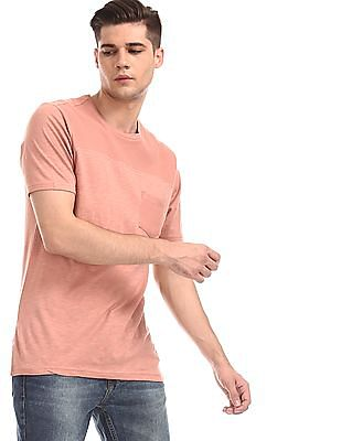 Cherokee Pink Slubbed Panel Patch Pocket T-Shirt