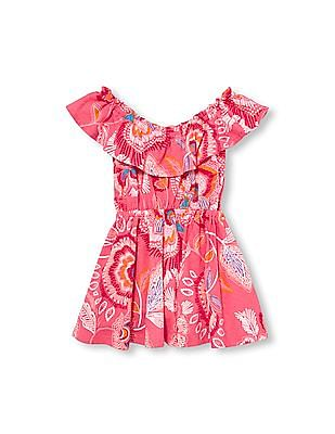 The Children's Place Toddler Girl Sleeveless Paisley Print Off-Shoulder Knit Dress