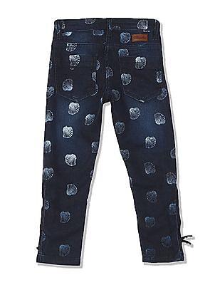 Cherokee Girls Mid Rise Printed Jeans
