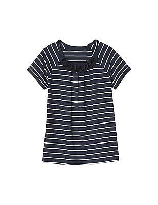 GAP Girls Blue Chiffon Applique Stripe Tee