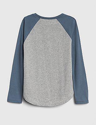 GAP Girls Grey Glitter Graphic Raglan T-Shirt