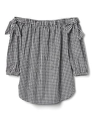 GAP Women Black Tie Off Shoulder Tunic In Poplin