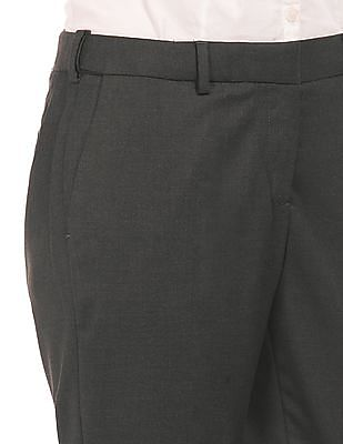Arrow Woman Textured Straight Fit Trousers