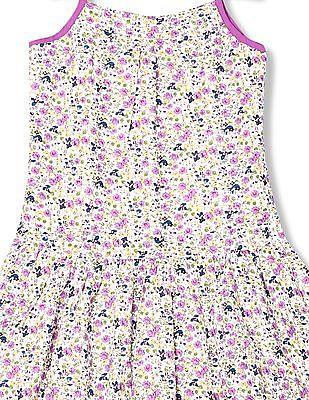 U.S. Polo Assn. Kids Girls Floral Print Drop Waist Dress
