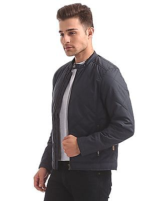 Flying Machine Stand Collar Quilted Jacket