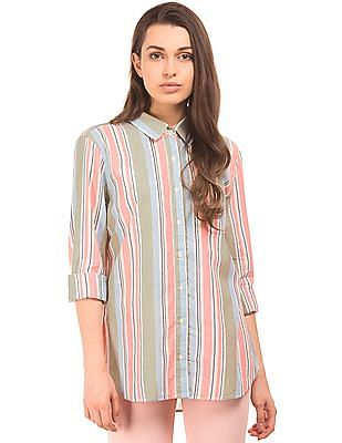 Aeropostale Lurex Striped Cotton Shirt