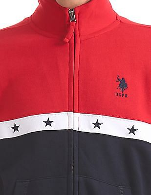 U.S. Polo Assn. Zip Up Colourblocked Sweatshirt